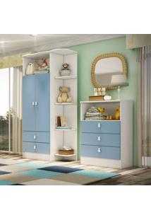 Comoda Infantil 3 Gavetas E Nicho 1330 Siena Móveis Branco/Azul