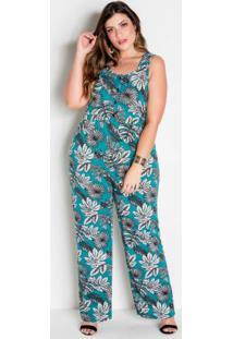 Macacão Folhagem Pantalona Com Botões Plus Size