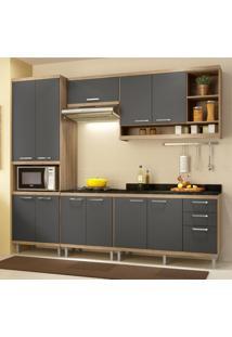 Cozinha Completa Multimóveis Com 6 Peças Sicília 5809 Argila/Grafite