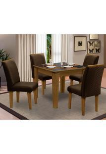 Sala De Jantar Saint Michel Com 4 Cadeiras – Dobuê Movelaria - Mell / Preto / Chocolate
