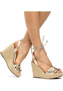 Sandália Couro Plataforma Shoestock Flores Metalizadas Feminina - Feminino-Dourado