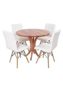 Conjunto Mesa De Jantar Tampo De Madeira 90Cm Com 4 Cadeiras Gomos - Branco