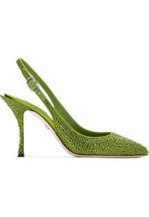 Dolce & Gabbana Scarpin Sling Back Com Aplicações - Verde