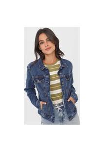 Jaqueta Jeans Hering Recortes Azul