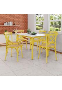 Conjunto De Mesa De Jantar Com 6 Cadeiras E Tampo De Madeira Katrina Amarelo