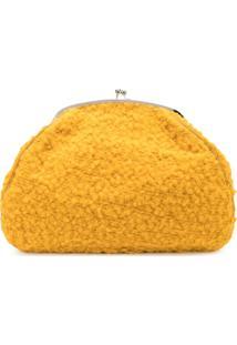 Marina Moscone Clutch Oversized Long Hair Teddy - Amarelo