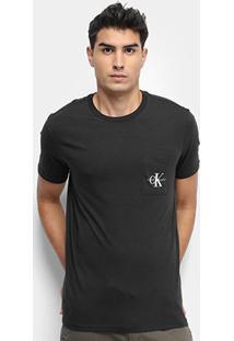 Camiseta Calvin Klein Ck Bolso Masculina - Masculino-Preto