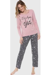 Pijama Malwee Liberta Glow Rosa/Cinza