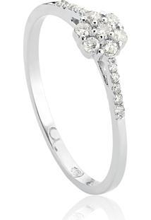 Anel De Ouro Branco 18K Flor E Aro Com Diamantes-Diamond Flowers
