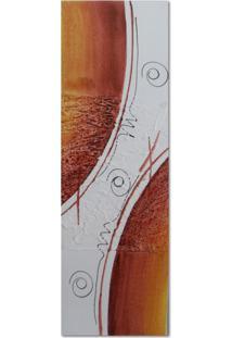 Quadro Artesanal Com Textura Abstrato Vermelho 20X60 Uniart