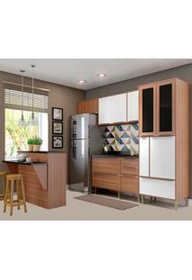 Cozinha Compacta Com Tampo 12 Portas 5463 Nogueira/Branco - Multimóveis