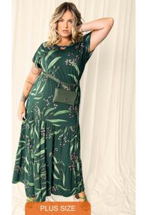 Vestido Plus Size Longo Verde