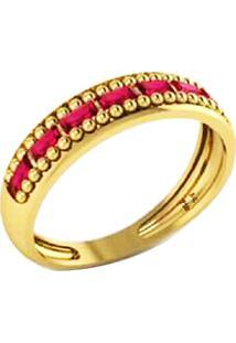 Anel La Madame Co Aparador Ouro 18K Com Baguetes Rubi Dourado