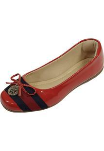 Sapatilha Hope Shoes Bico Quadrado Mandalinha Vermelho