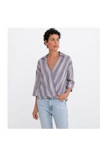 Camisa Decote V Manga Curta Transpassada Listrada | Marfinno | Azul | Pp
