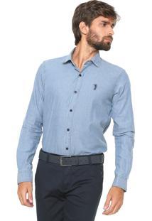 Camisa Jeans Aleatory Reta Listras Azul
