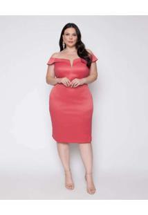 Vestido Almaria Plus Size Pianeta Curto Cetim Rosa