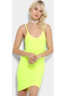 Vestido Flora Zuu Tubinho Neon - Feminino-Amarelo