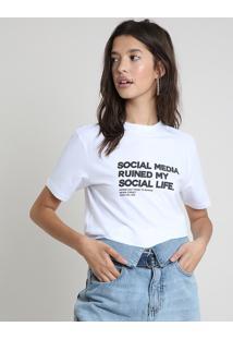 "Blusa Feminina ""Social Media"" Manga Curta Decote Redondo Branca"