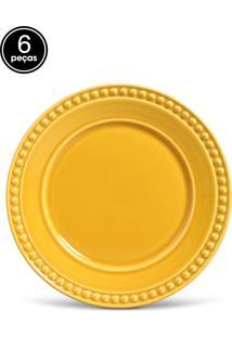 Conjunto 6Pçs Pratos Rasos 26,5Cm Porto Brasil Atenas Amarelo