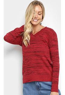 Suéter Tricot Fast Glam Estonado Feminino - Feminino-Vermelho Escuro