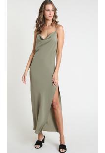 Vestido Slip Dress Feminino Mindset Longo Com Fenda Alça Fina Gola Degagê Verde Militar