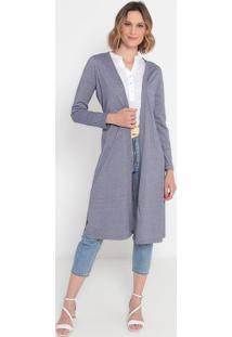 Kimono Listrado Com Fendas- Roxo & Off Whitevip Reserva