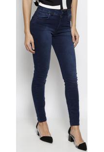 Jeans Marisa Cigarrete Com Bolsos- Azul Escuro- Foruforum