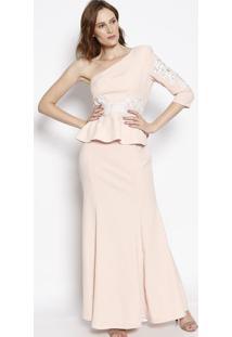 ff62c85db ... Vestido Ombro Único Longo Com Renda - Rosa Claro - Llança Perfume