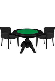 Mesa De Jogos Carteado Redonda Montreal Tampo Reversível Preto Com 2 Cadeiras Vicenza Preto Fosco - Gran Belo