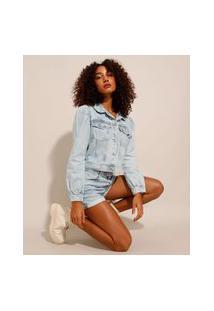 Jaqueta Jeans Feminina Cropped Com Bolsos Manga Bufante Azul Claro