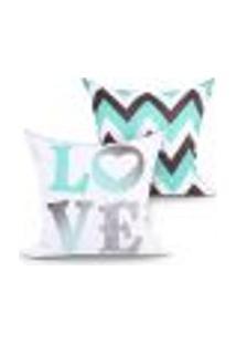 Capa Almofada Love Estampada Tiffany Kit Com 2 Unidades 45Cm X 45Cm Com Zíper