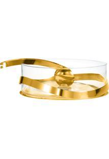 Saladeira Duo Com Pegador Ouro 24K - 25Cm - Riva