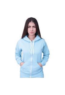 Blusa Moletom Com Ziper Plus Size Azul Bebe