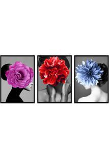 Quadro 60X120Cm Kaira Mulher Com Flores Moldura Preta Sem Vidro