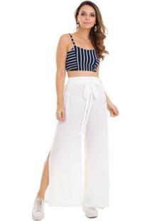 Calça Pantalona Crepe Feminina - Feminino-Branco