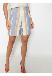 Bermuda Listrada Com Linho- Bege & Azul- Seduã§Ã£O Dreseduã§Ã£O Dress