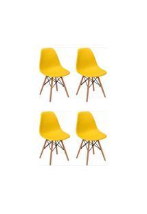 Kit 04 Cadeiras Eiffel Charles F01 Eames Amarela Base De Madeira Dsw -