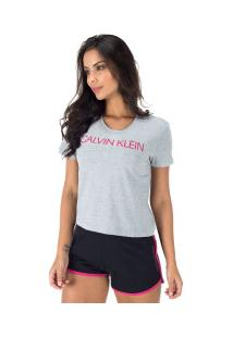 Camiseta Calvin Klein Silk - Feminina - Cinza Cla/Rosa