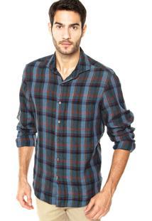 Camisa Richards Bolso Azul/Vermelho