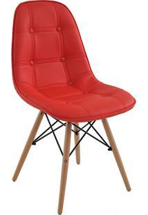Cadeira Eiffel Sem Braço Botone Poliuretano Vermelho - Rivatti