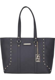 Bolsa Shopping Com Recortes & Rebites - Preta - 28X3Fellipe Krein