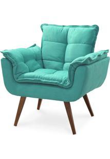 Poltrona Decorativa Opalla Pés Palito Azul Turquesa - Ds Móveis
