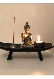 Incensário C/ Porta-Vela Buda Tailandês
