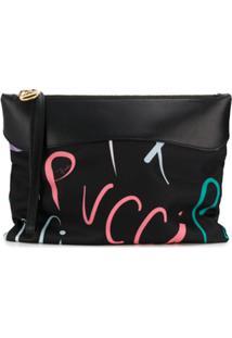 Emilio Pucci Bolsa Clutch Com Logo Estampado - Preto