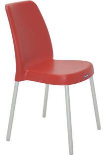 Cadeira Vanda- Vermelho Escuro & Prateada- 86X58X50Ctramontina