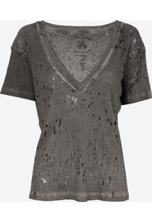 Camiseta John John Super V Grey Malha Cinza Feminina (Cinza Escuro, P)
