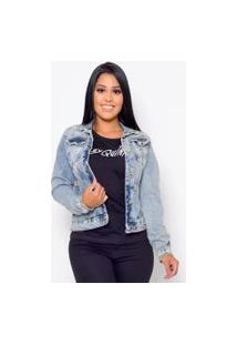 Jaqueta Jeans Feminina Destroyed Emporio Alex Jeans Azul