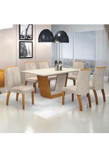 Conjunto De Mesa De Jantar Com 6 Cadeiras Alemanha Veludo Imbuia E Off White