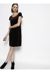 Vestido Acetinado Em Veludo - Marrom - Cotton Colorscotton Colors Extra